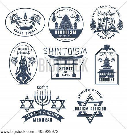 Religious Vector Icons Buddhism, Judaism, Shintoism And Hinduism World Religion Symbols. Buddhist Te