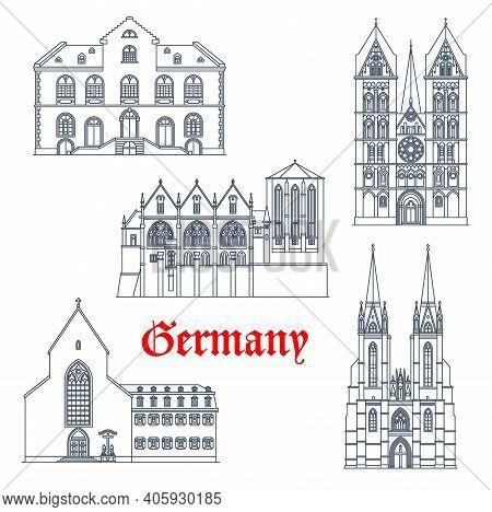 Germany Landmarks Architecture, German Travel Icons Of Marburg In Hesse, Vector. German Landmark Bui