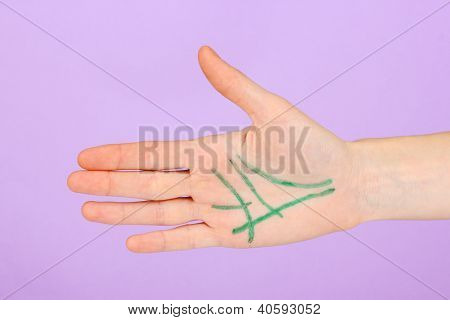 Chiromancy.Color contours on palm, on color background