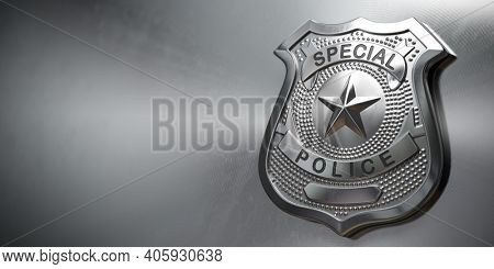 Police metal badge on metal background. Sign and symbol of police. 3d illustration