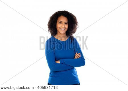 Teenager girl wearing blue sweater isolated on a white background
