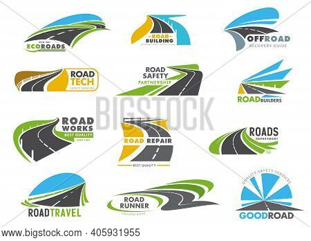 Highway Road, Driveway And Speedway Icons Set. Road Construction, Repair Works And Ravel, Freeway Sa