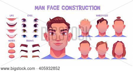 Man Face Constructor, Avatar Of Caucasian Male Character Creation Heads, Hairstyle, Nose, Eyes With