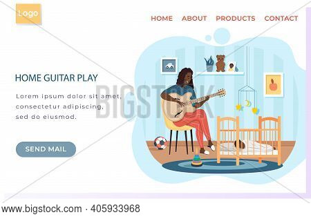 Mother Sings Song For Night To Her Child. Web Site With String Instrument Playing. Person Creates Mu