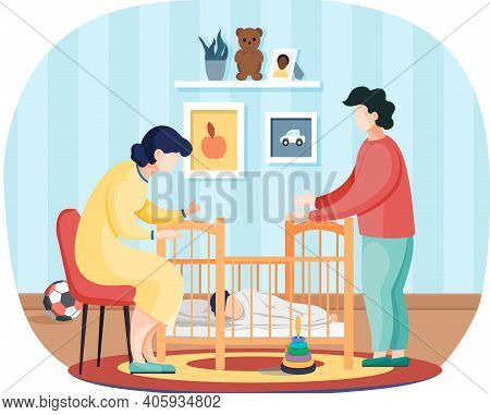 Happy Husband And Wife Put To Bed Child In Baby Crib. Healthy Kid, Happy Family, Maternity Leave And