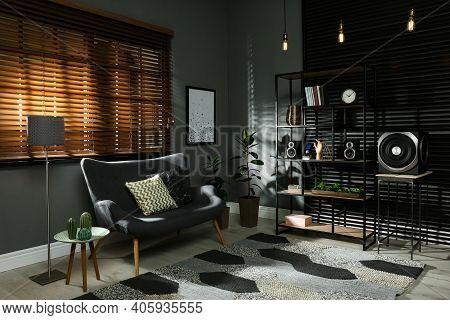 Modern Audio Speaker System On Shelving In Living Room. Interior Design