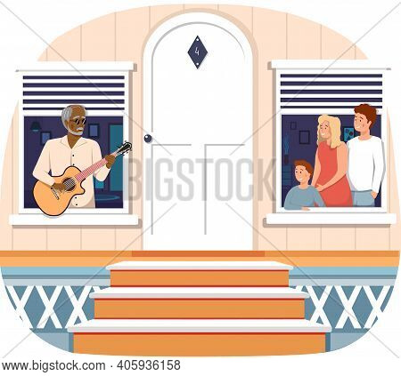 Fashionable Elderly Man Sings To Family. People On Balcony Are Listen To Guitar Playing. Musicians P