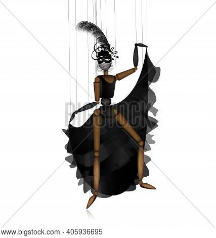 Vector Illustration White Background And Wooden Puppet In Black