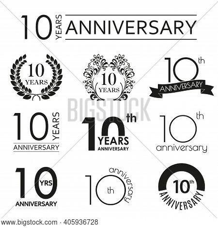 10 Years Anniversary Icon Set. 10th Anniversary Celebration Logo. Design Elements For Birthday, Invi