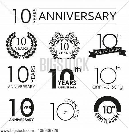 10 Years Anniversary Icon Set. 10th Anniversary Celebration Logo. Design Elements For Birthday, Invi