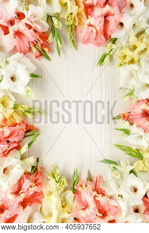 Pink, White Gladioluses On Wooden White Background. Pattern Of Gladioli With Space For Your Text, Ho