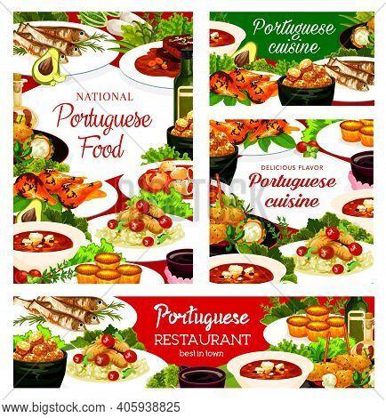 Portuguese Cuisine Dishes Pasteh Cakes, Cod Soup, Pasteigi, Fish Croquettes, And Jinia Cherry Liquor