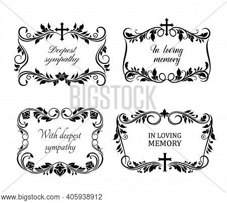 Funeral Cards, Vector Vintage Condolence Floral Wreaths, Ornament With Flourishes, Cross And Obituar