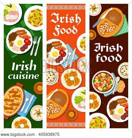 Irish Food Cuisine, Breakfast Menu And Ireland Dishes, Vector Banners With Bread Raisin, Pudding And