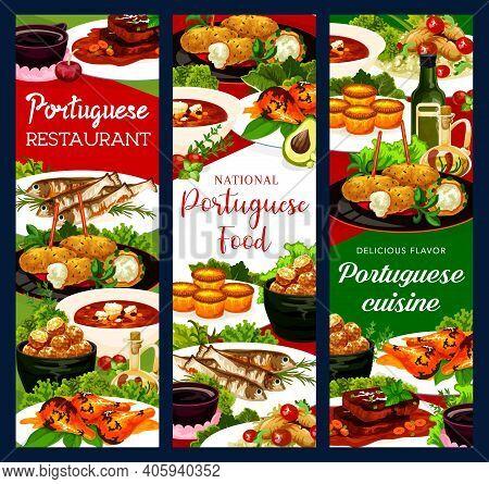 Portugal Restaurant Dishes Cod Soup, Fish Croquettes, Cod Pasteigi, Sardines And Pasteh Cakes. Piri