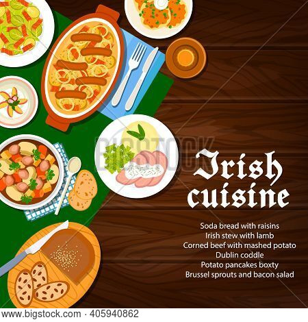 Irish Cuisine Food Menu Dishes, Ireland Breakfast Meals, Vector Breakfast Bread With Raisins, Puddin