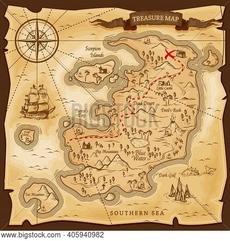 Map Treasures Paper Parchment, Pirate Treasury, Vector Nautical Travel Discovery. Vintage Treasure M