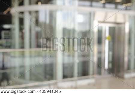 Office Building Or University Library Lobby Hall Reading Area Blur Background With Hall Interior