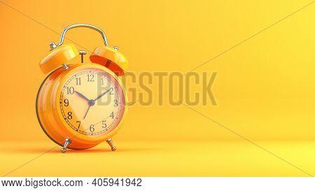 Retro orange alarm clock on orange background - 3d rendering