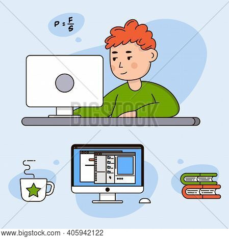 Home Study. Working At Home, Coworking Space, Concept Sticker. Online Learning. Young Boy Freelancer