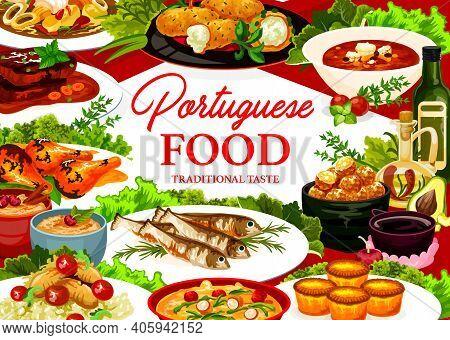Portuguese Food Vector Stuffed Squid, Cod Soup And Pasteigi, Fish Croquettes, Sardines, Pasteh Cakes