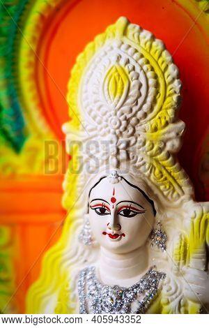 Idol Of Goddess Saraswati Painted In White And Yellow Colour On Basant Panchami Utsav. Swaraswati Is