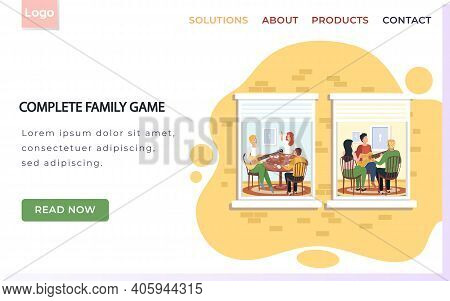 Complete Family Game Landing Page Template With Group Of People Sing Songs And Play Guitar Sitting A