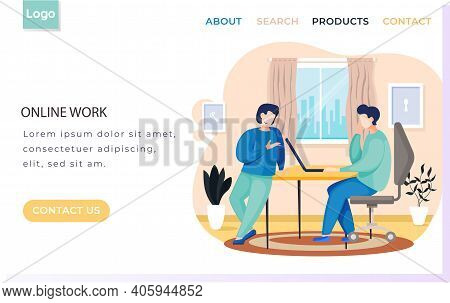 Man Uses Laptop And Works. Website Landing Page Template. Online Work Concept. Colleagues Are Commun