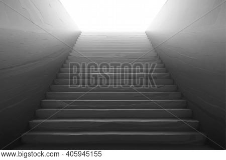 Old Staircase With Broken Concrete Steps, Scratches On Wall And White Light On Top. Vector Realistic