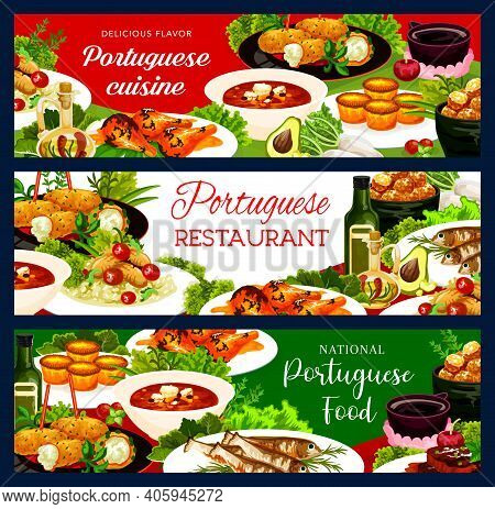 Portuguese Food Vector Stewed Chicken In Wine, Beef Stewcod Soup And Fish Croquettes, Cod Pasteigi,