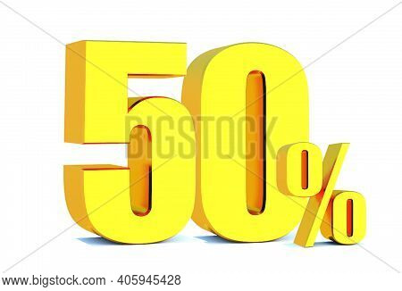 Gold 50 Percent Off 3d Sign On White Background, Special Offer 50% Discount Tag, Sale Up To 50 Perce