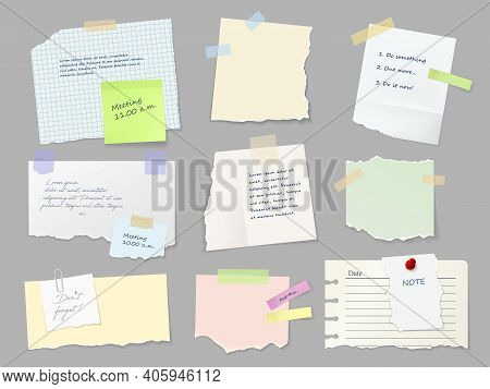 Notes Paper Sheets Attached With Adhesive Tape. Meeting Reminder, To-do List And Memo Notice, Letter