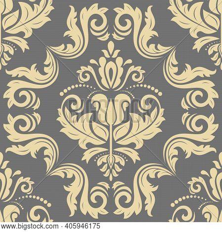 Classic Seamless Pattern. Damask Orient Ornament. Classic Vintage Background. Orient Golden Ornament