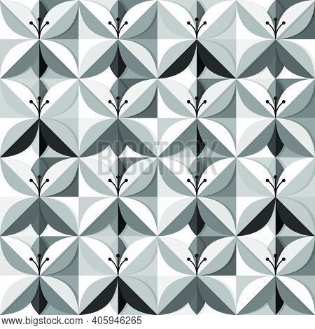 Origami Flowers In A Black And White Seamless Pattern