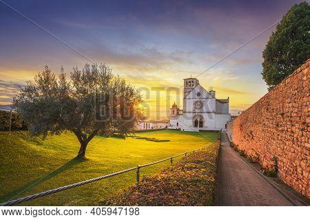 Assisi, San Francesco Or Saint Francis Basilica Upper Church At Sunset. Perugia, Umbria, Italy, Euro