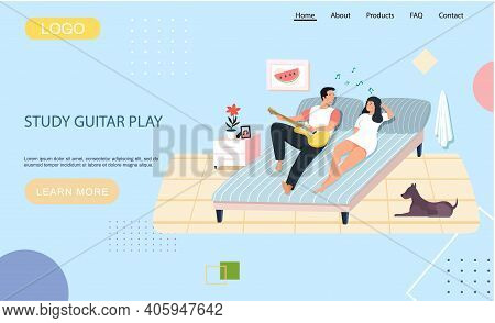 Website With Study Guitar Play. Couple Playing Musical Instrument. Guy Sings For His Girlfriend. Car