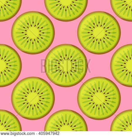 Cute Pattern With Cartoon Kiwi And Kiwi Slices On White Background. Can Be Used Like Pattern For Kit