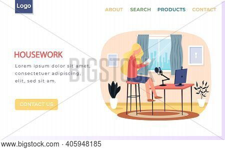 Housework Landing Page Template With Young Girl Blogger Live Streaming. Cute Girl Making Video Conte