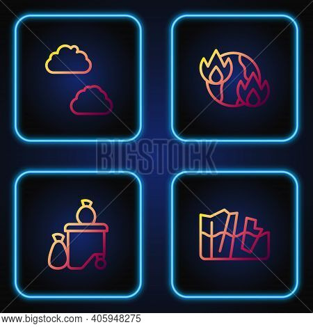 Set Line Glacier Melting, Full Dustbin, Cloud And Global Warming Fire. Gradient Color Icons. Vector