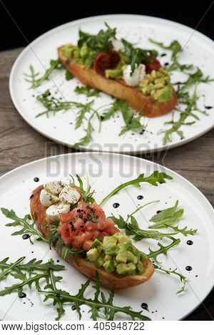 Healthy Vegetarian Bruschetta With Vegetable And Cheese.