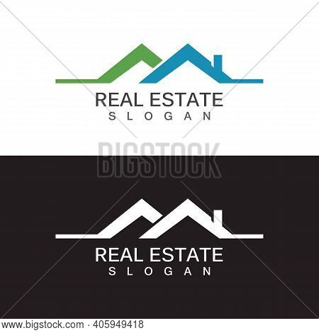 Real Estate Logo Design Template. Roofing Logo Vector