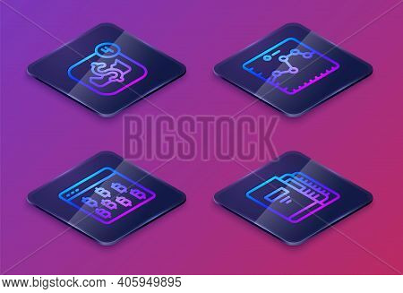 Set Isometric Line Mobile Stock Trading, Bitcoin Browser, Browser With Growth Graph And Office Folde