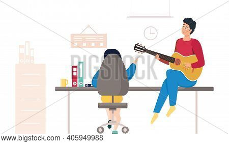 Communication Colleagues In Office In Informal Setting. Man With Guitar Sitting On Table Near Woman