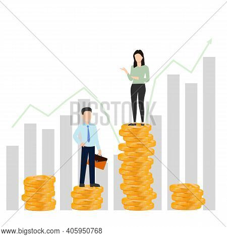 Successful Business Man And Woman Standing On Top Of Lifting Stack Of Gold Coins