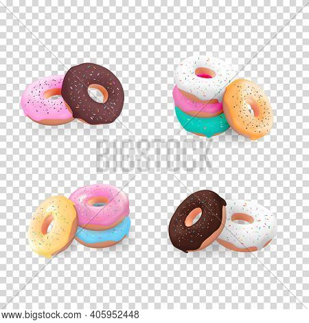 Big Collection Set Of Realistic 3D Sweet Tasty Donuts With Different Colour Icing Isolated On Transp