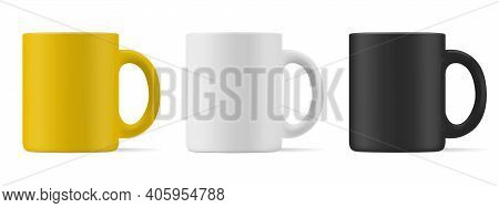 Vector Realistic Mockup (template, Layout) Of A Matte Mug For Drinks Front View. White, Black, Yello