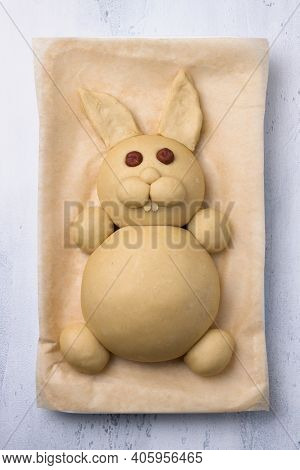 Making Easter Bunny Buns Of Delicious Sweet Dough For A Child. Do It Yourself. Step By Step Instruct