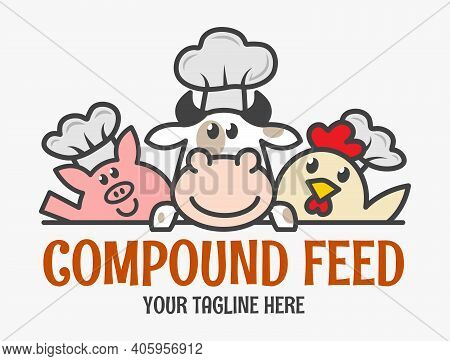Three Funny Animal Chefs. Compound Feed Logo. Chicken, Cow And Pig Icon.