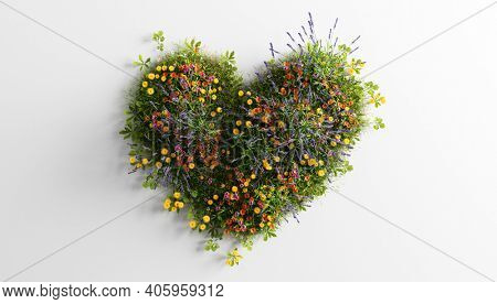 Green grass with spring summer flowers in heart shape. Concepts of love, Valentine's day, eco environment. 3D illustration