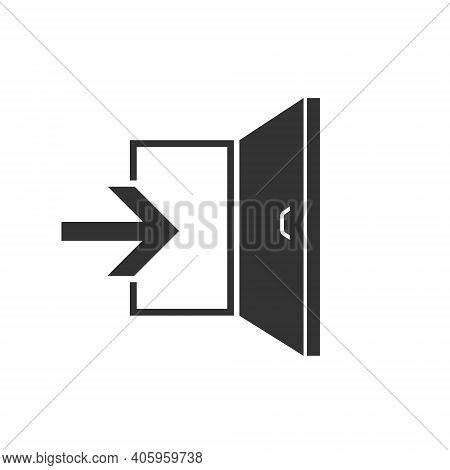 Icon Of An Open Door With An Arrow. Exit. Emergency Exit.